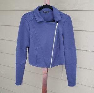 Torrid 00 Blue Violet Crop Zipper Fitted Jacket